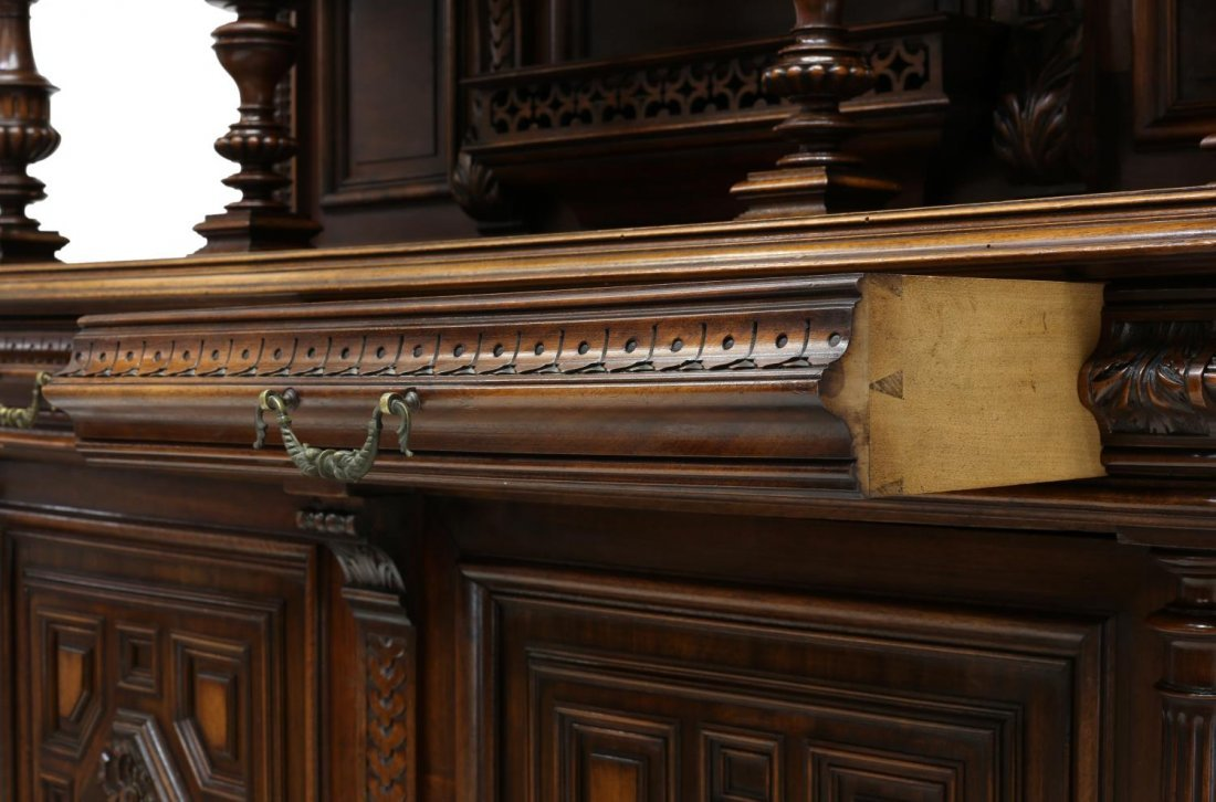 LARGE CARVED ANTIQUE FRENCH CUPBOARD - 5