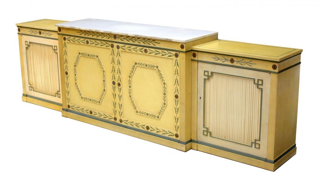 (3) POLYCHROME MARBLE TOP THREE-PART SIDEBOARD