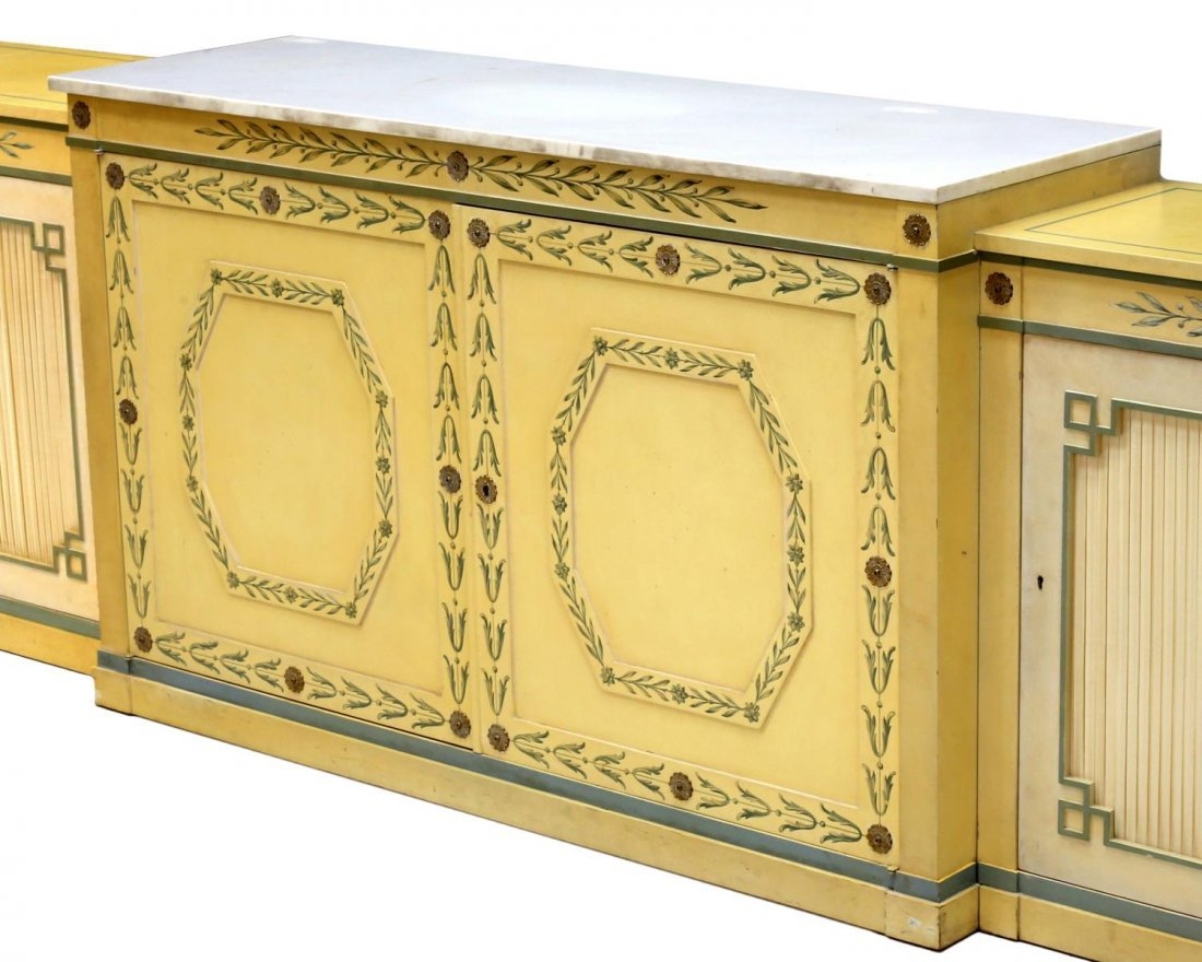 (3) POLYCHROME MARBLE TOP THREE-PART SIDEBOARD - 3