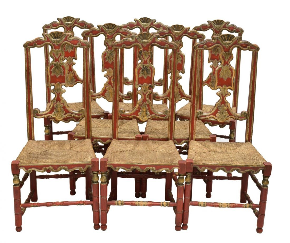(8) ANTIQUE SPANISH POLYCHROME HIGH BACK CHAIRS
