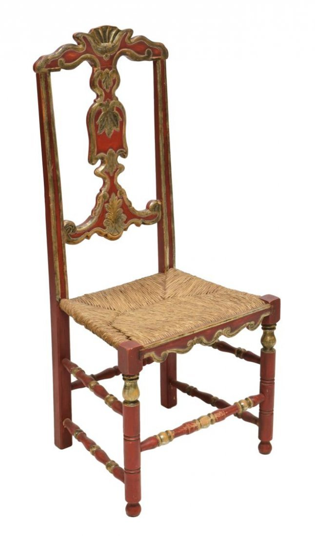 (8) ANTIQUE SPANISH POLYCHROME HIGH BACK CHAIRS - 2