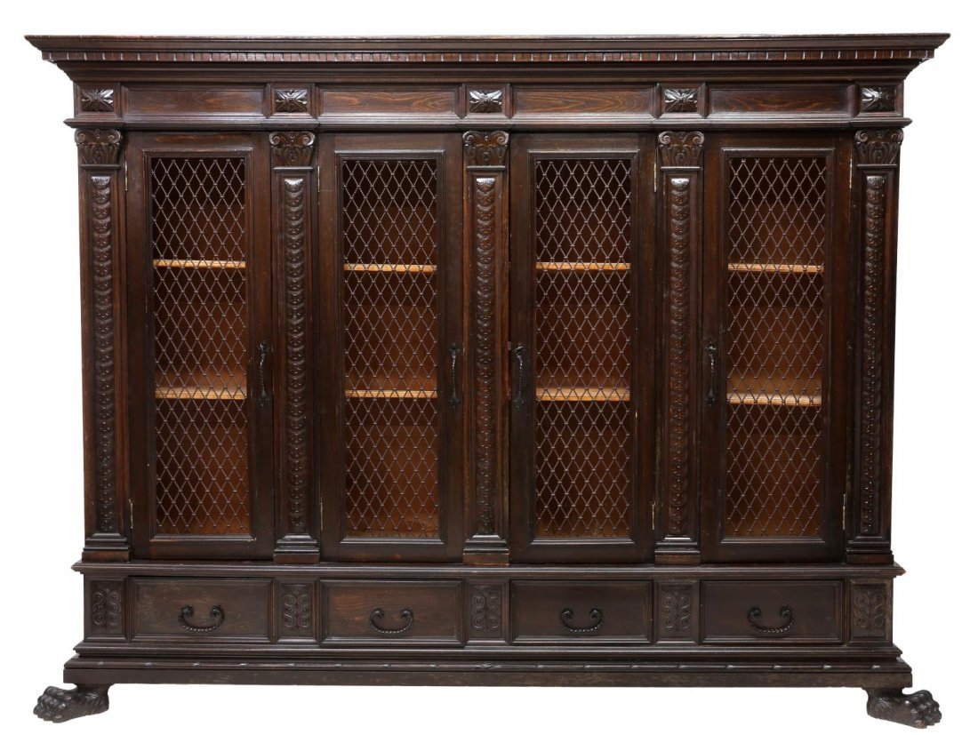 ITALIAN RENAISSANCE REVIVAL CARVED BOOKCASE 20TH C - 2