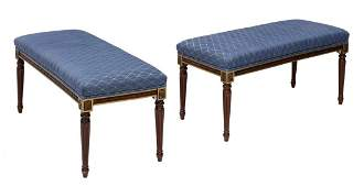 (2) LOUIS XVI STYLE UPHOLSTERED BENCHES, 20TH C