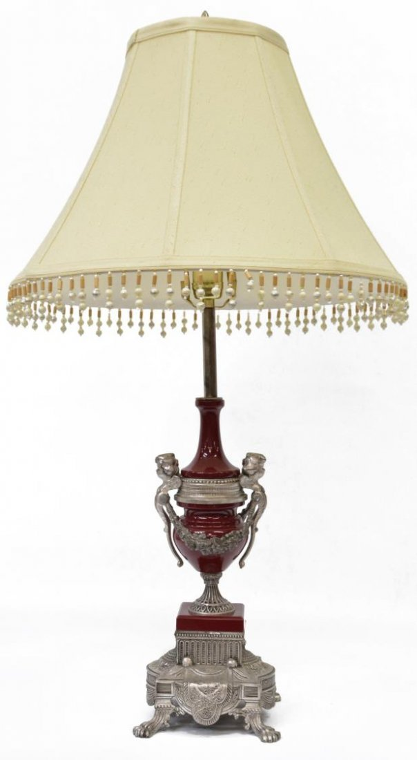 LOUIS XVI STYLE PORCELAIN & METAL PUTTI TABLE LAMP