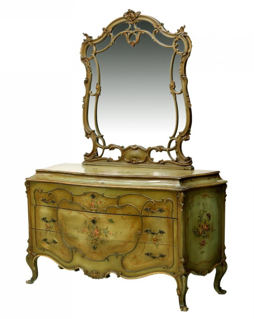 LOUIS XV STYLE PARCEL GILT PAINTED BOMBE COMMODE