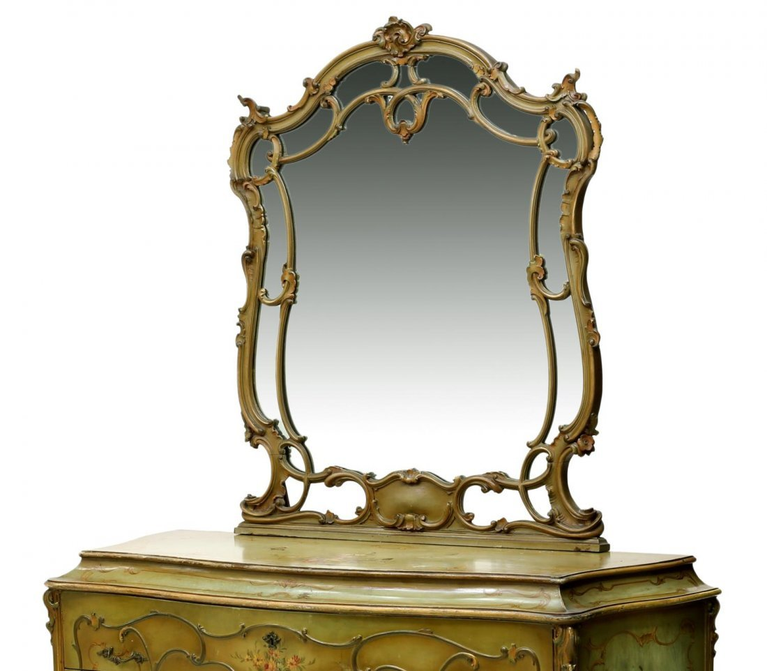 LOUIS XV STYLE PARCEL GILT PAINTED BOMBE COMMODE - 2