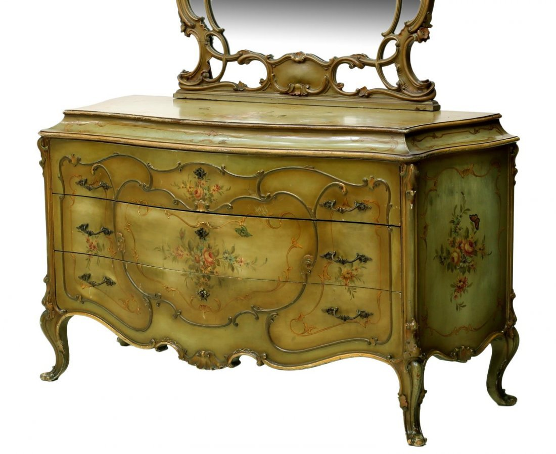 LOUIS XV STYLE PARCEL GILT PAINTED BOMBE COMMODE - 3
