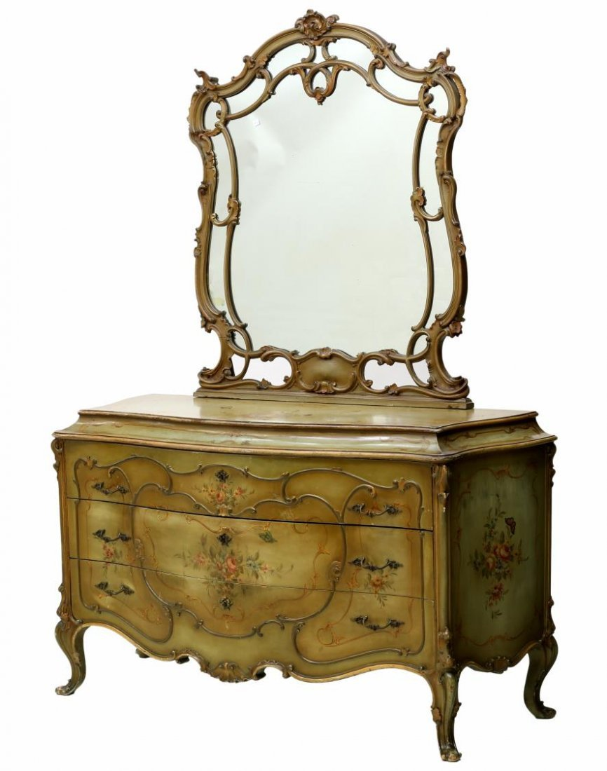 LOUIS XV STYLE PARCEL GILT PAINTED BOMBE COMMODE - 4