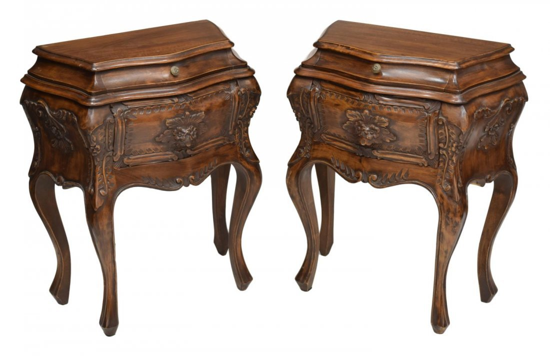 (2) ITALIAN CARVED BOMBE BEDSIDE CABINETS, 20TH C