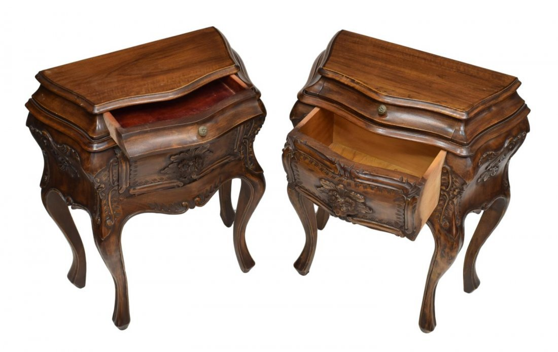 (2) ITALIAN CARVED BOMBE BEDSIDE CABINETS, 20TH C - 2