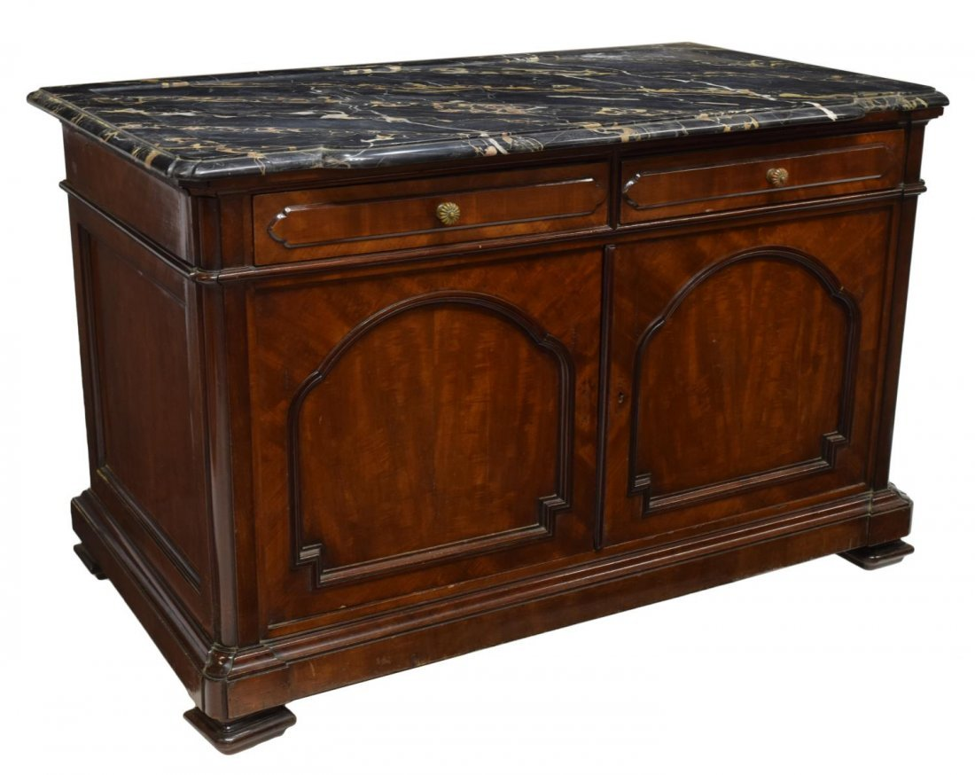 ITALIAN MARBLE TOP CARVED MAHOGANY COMMODE 19TH C