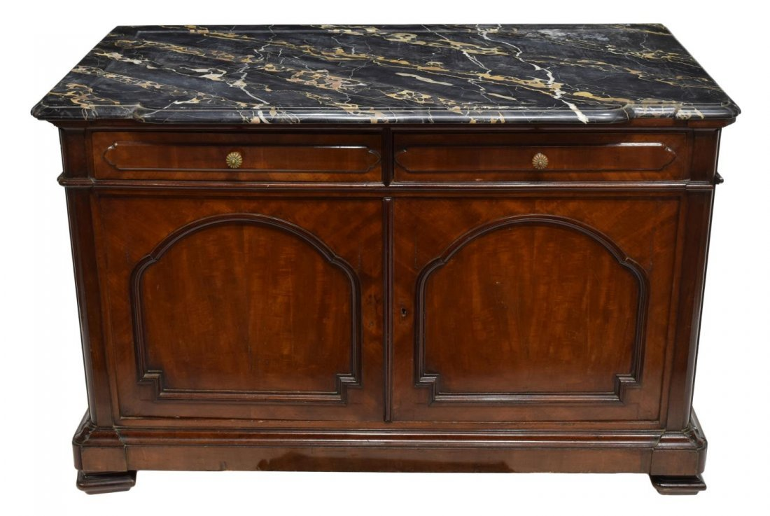ITALIAN MARBLE TOP CARVED MAHOGANY COMMODE 19TH C - 2