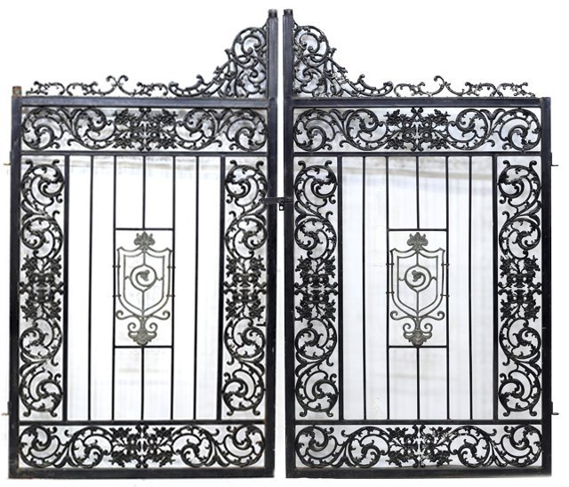 "(PAIR) LARGE IRON FRAMED GATES, 88""H x 55""W"