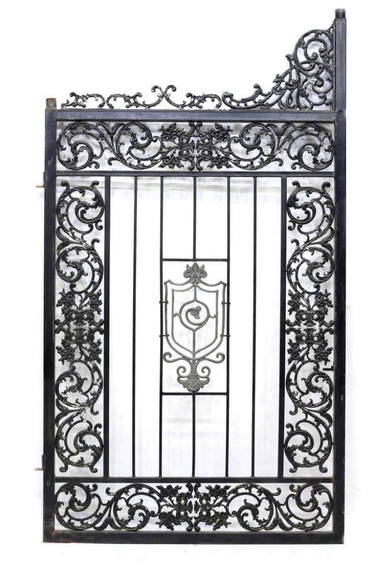 "(PAIR) LARGE IRON FRAMED GATES, 88""H x 55""W - 3"