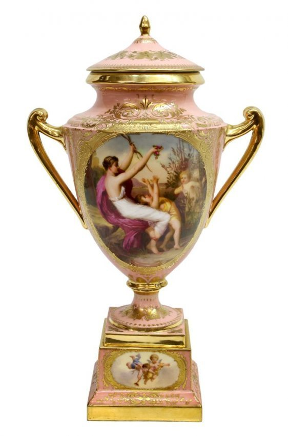 ROYAL VIENNA PORCELAIN COVERED URN, SIGNED, 19TH C
