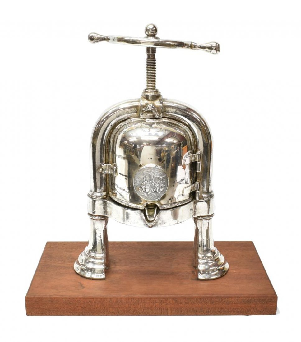 EARLY 20TH CENTURY SILVERPLATED DUCK PRESS - 2