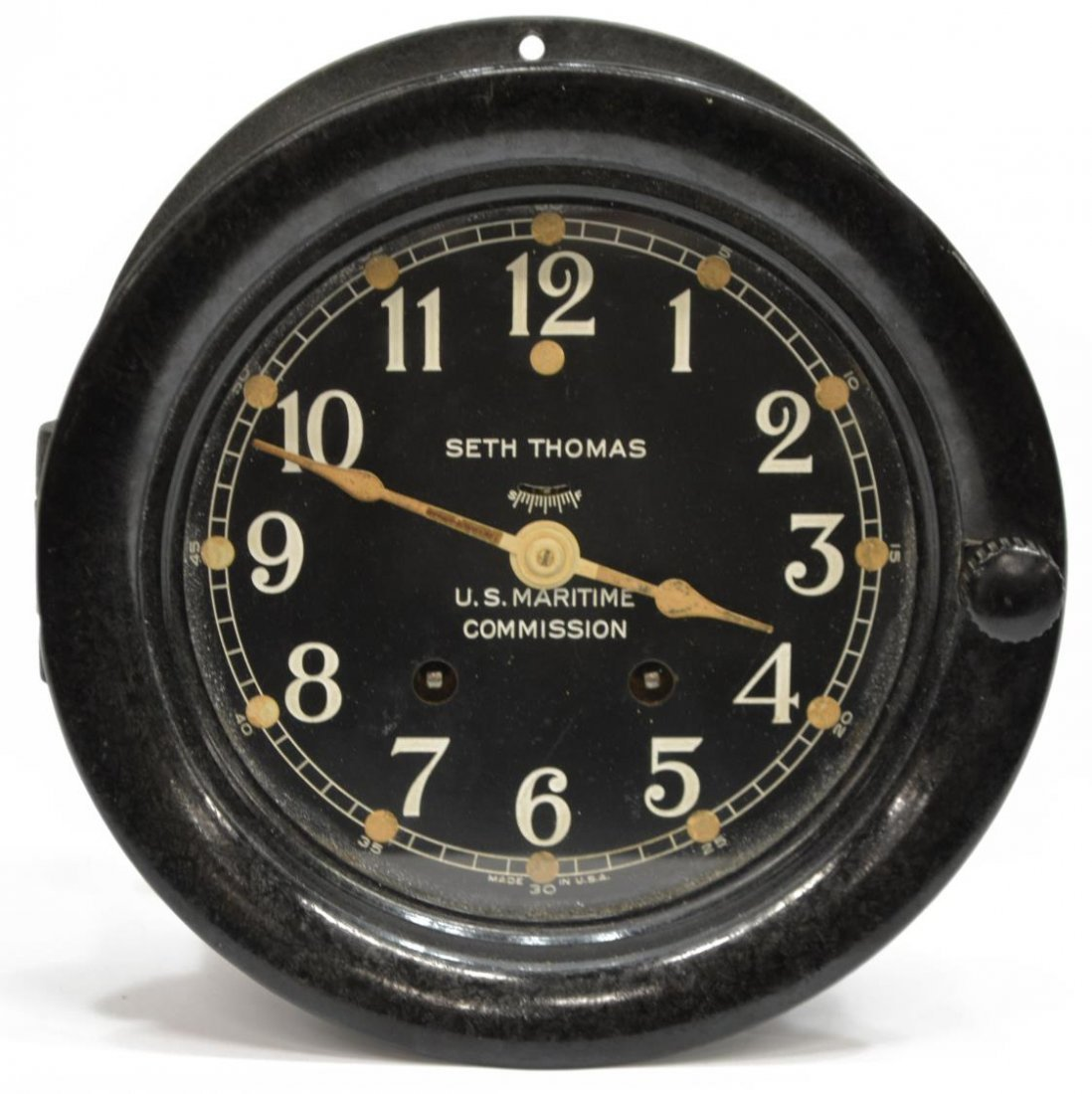 SETH THOMAS MARITIME BLACK IRON SHIPS CLOCK