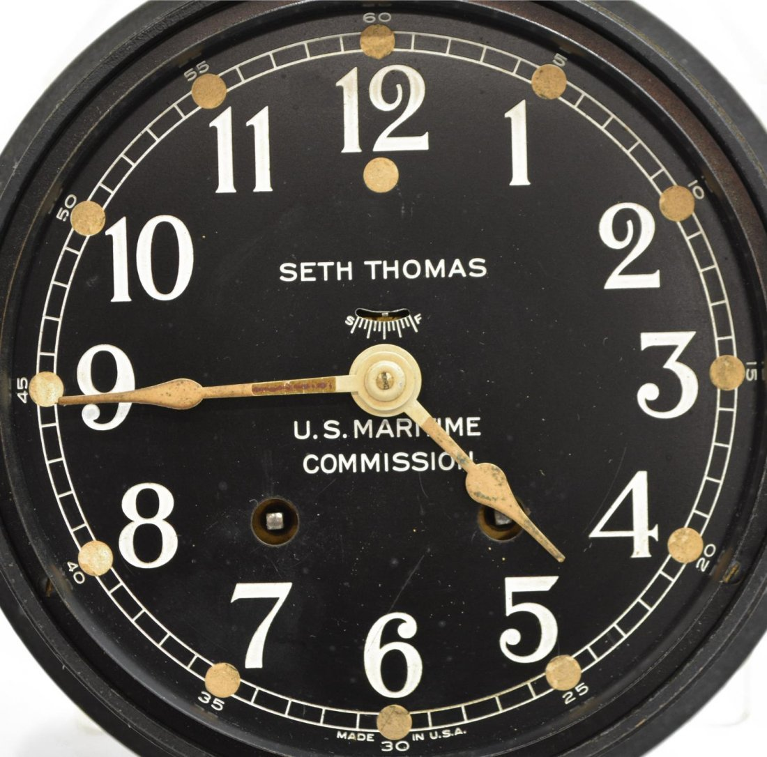 SETH THOMAS MARITIME BLACK IRON SHIPS CLOCK - 2