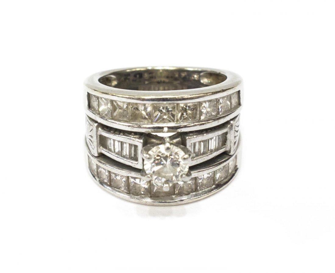 LADIES 14KT WHITE GOLD DIAMOND ENGAGEMENT RING