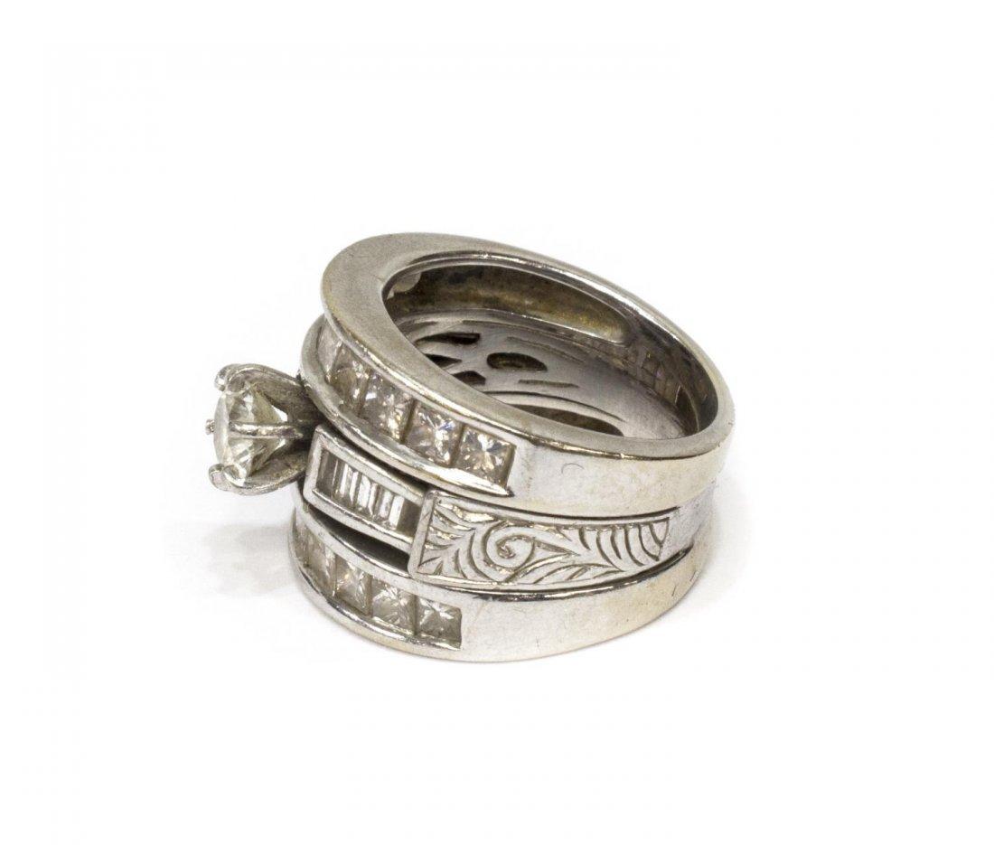 LADIES 14KT WHITE GOLD DIAMOND ENGAGEMENT RING - 2