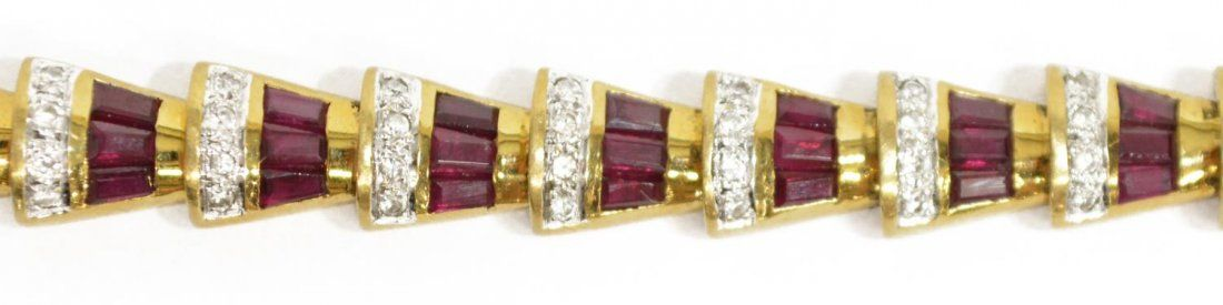 ESTATE 18KT DIAMOND & RUBY RETRO STYLE BRACELET