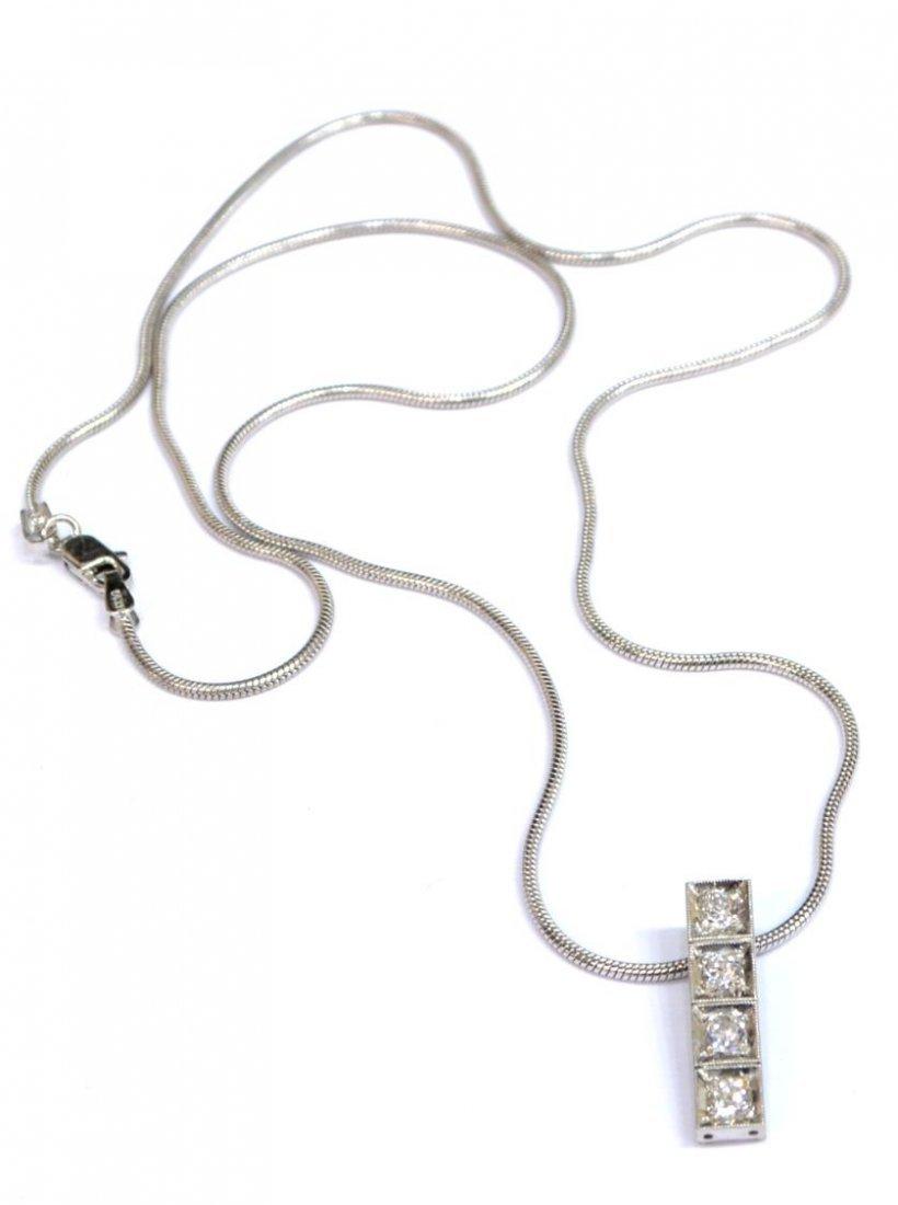 LADIES ESTATE 14KT WHITE GOLD & DIAMOND NECKLACE - 2