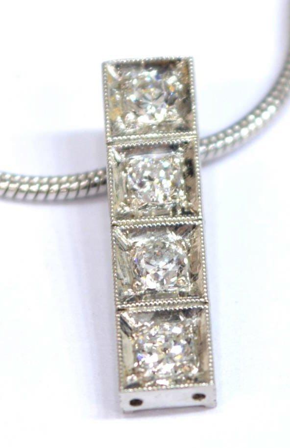 LADIES ESTATE 14KT WHITE GOLD & DIAMOND NECKLACE - 3