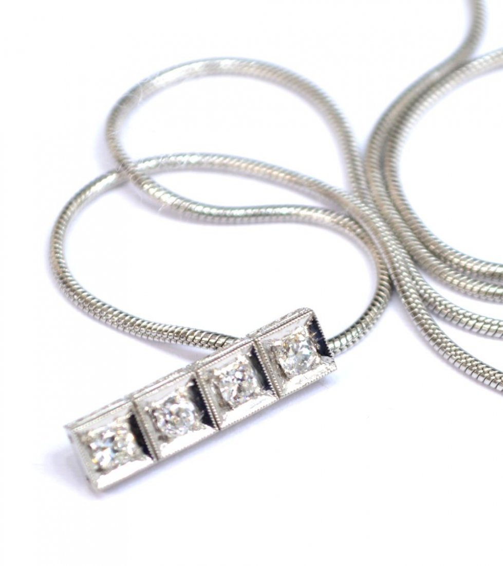 LADIES ESTATE 14KT WHITE GOLD & DIAMOND NECKLACE - 4