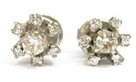 PAIR LADIES WHITE GOLD  DIAMOND STUD EARRINGS