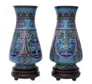 2 LARGE ANTIQUE CHINESE CLOISONNE VASES