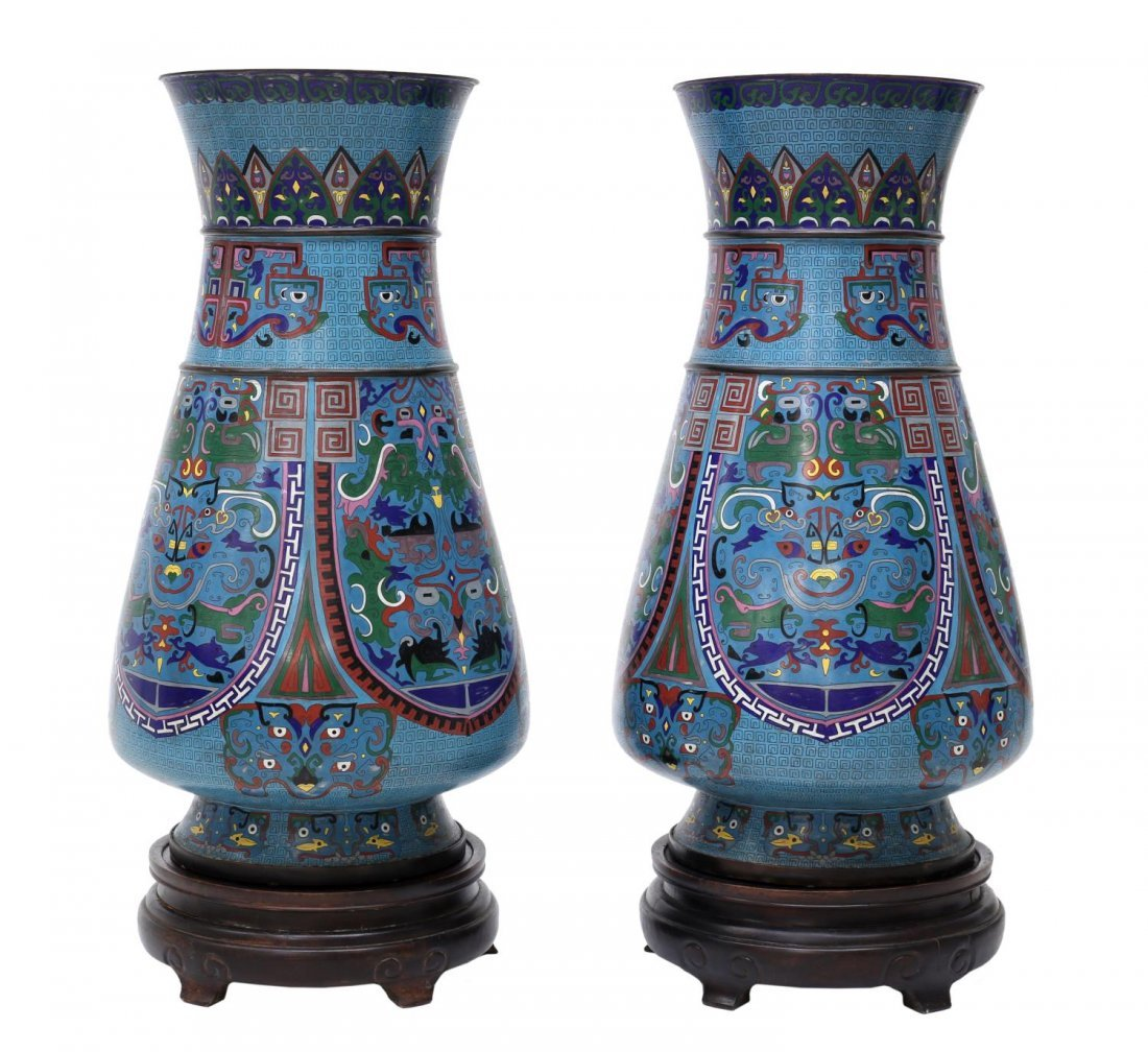 (2) LARGE ANTIQUE CHINESE CLOISONNE VASES