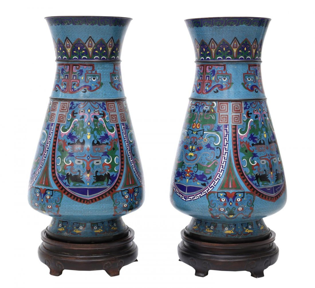 (2) LARGE ANTIQUE CHINESE CLOISONNE VASES - 2