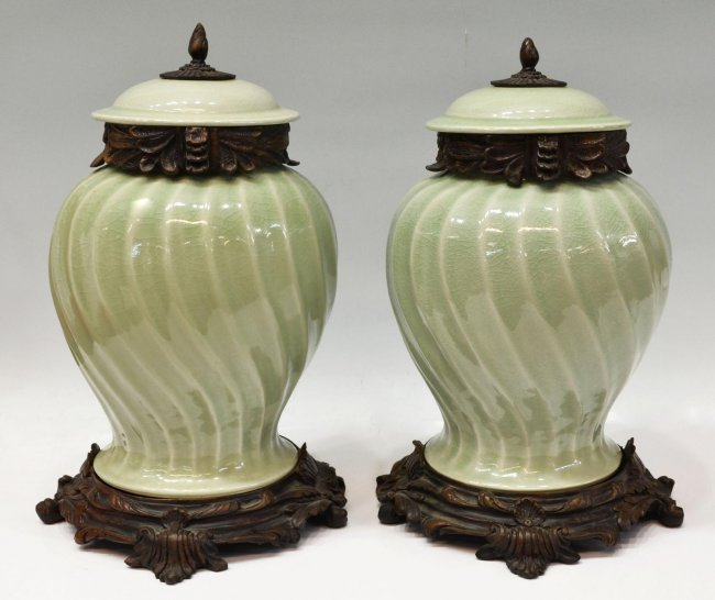 PAIR LARGE BRONZE MOUNTED CELADON PORCELAIN URNS