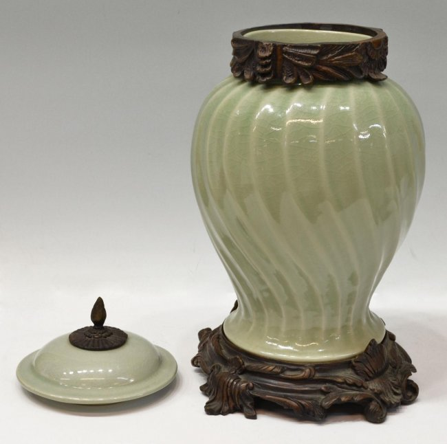 PAIR LARGE BRONZE MOUNTED CELADON PORCELAIN URNS - 3