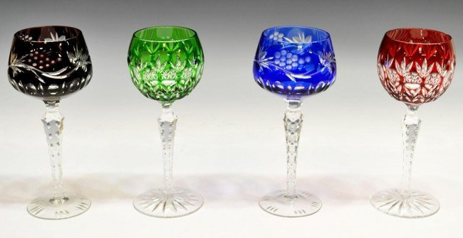 ASSEMBLED GROUP BOHEMIAN CUT TO CLEAR STEMWARE - 2