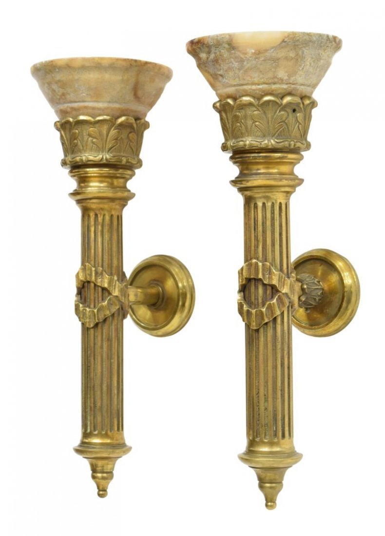 (PAIR)SPANISH GILT BRONZE & ALABASTER WALL SCONCES