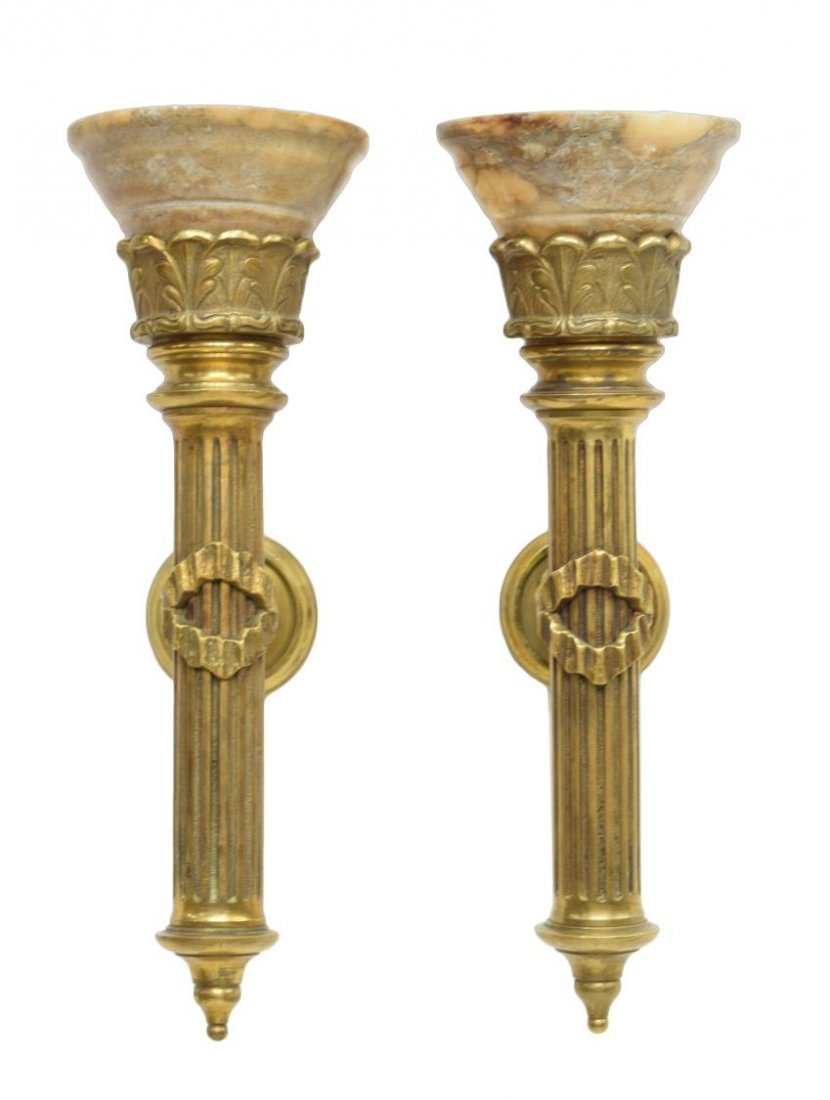 (PAIR)SPANISH GILT BRONZE & ALABASTER WALL SCONCES - 2