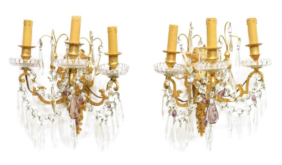 (2) FRENCH FIGURAL MASQUE THREE-LIGHT WALL SCONCES