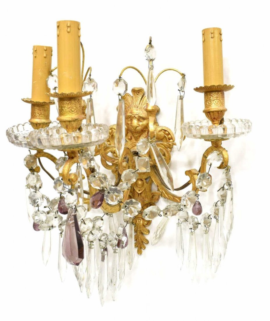 (2) FRENCH FIGURAL MASQUE THREE-LIGHT WALL SCONCES - 2