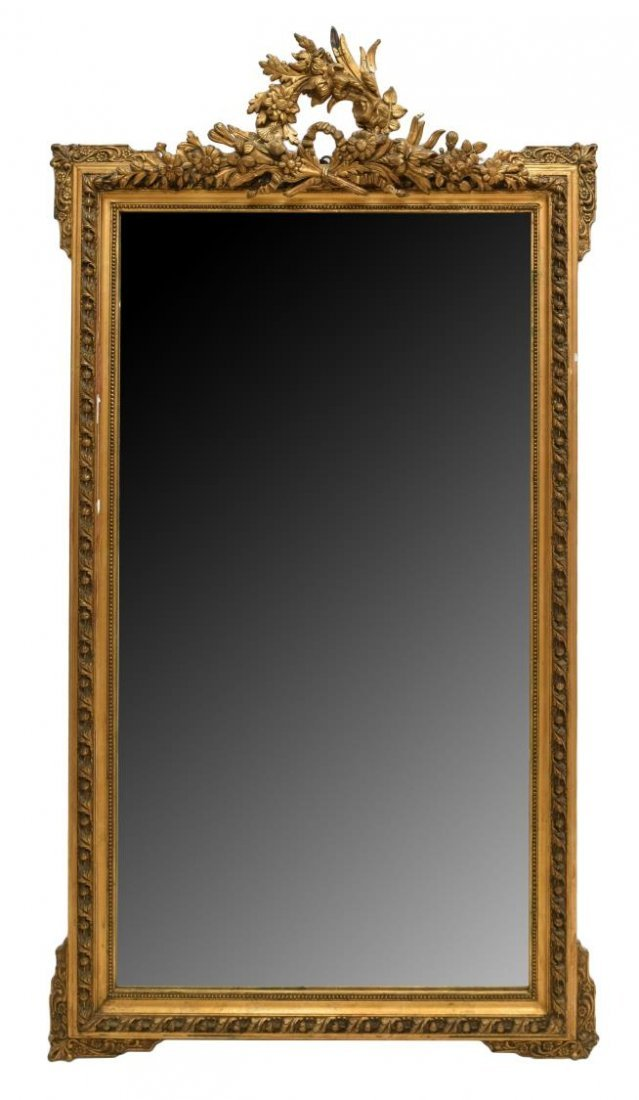 LOUIS XVI STYLE GILTWOOD WALL MIRROR, EARLY 20TH C