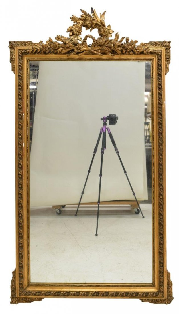 LOUIS XVI STYLE GILTWOOD WALL MIRROR, EARLY 20TH C - 2