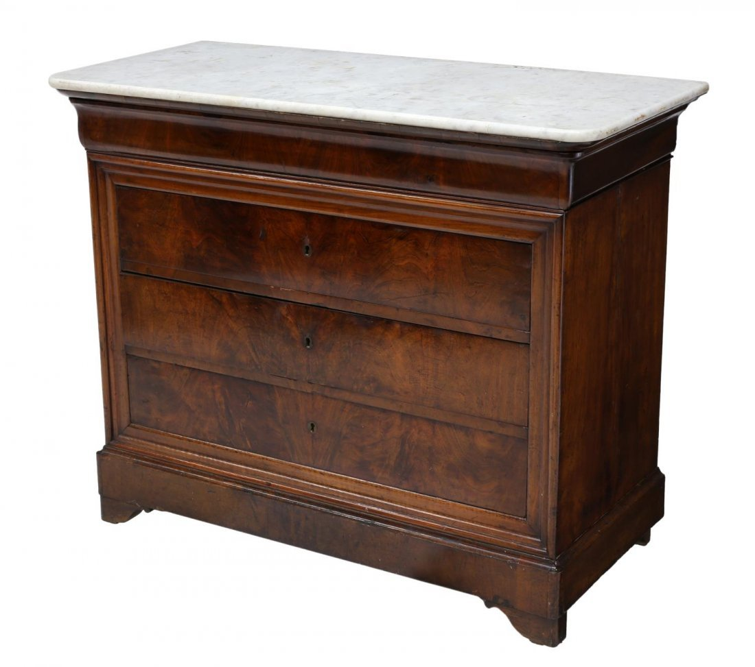 FRENCH CHARLES X MARBLE TOP COMMODE, 19TH C.