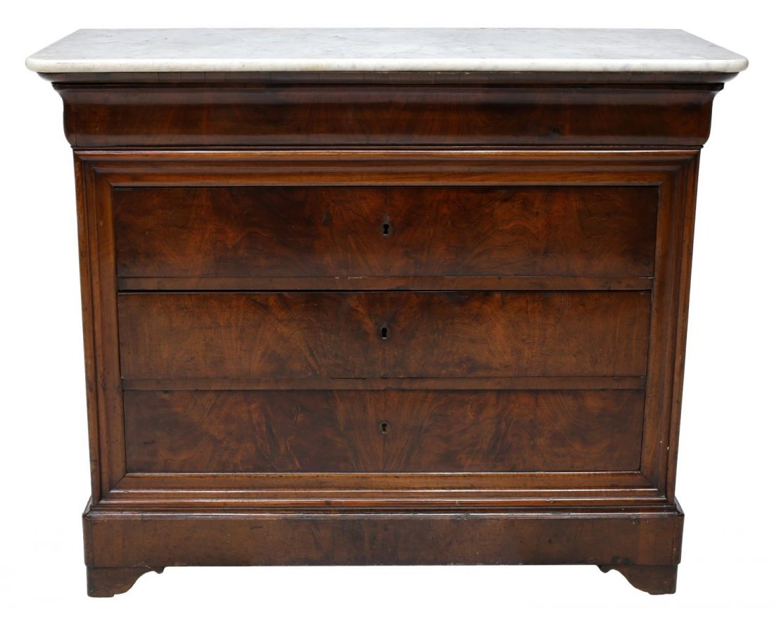 FRENCH CHARLES X MARBLE TOP COMMODE, 19TH C. - 2