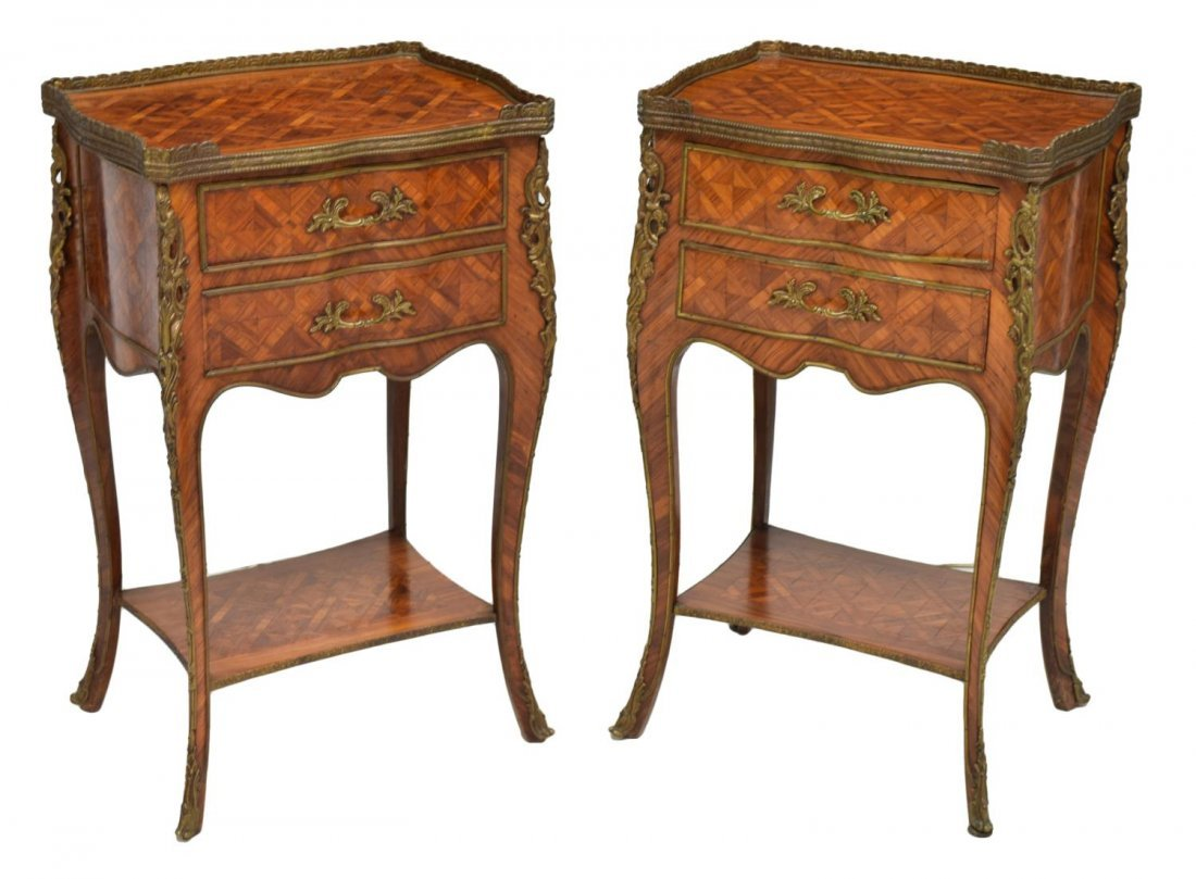 (2) LOUIS XV STYLE ROSEWOOD PARQUETRY NIGHT STANDS