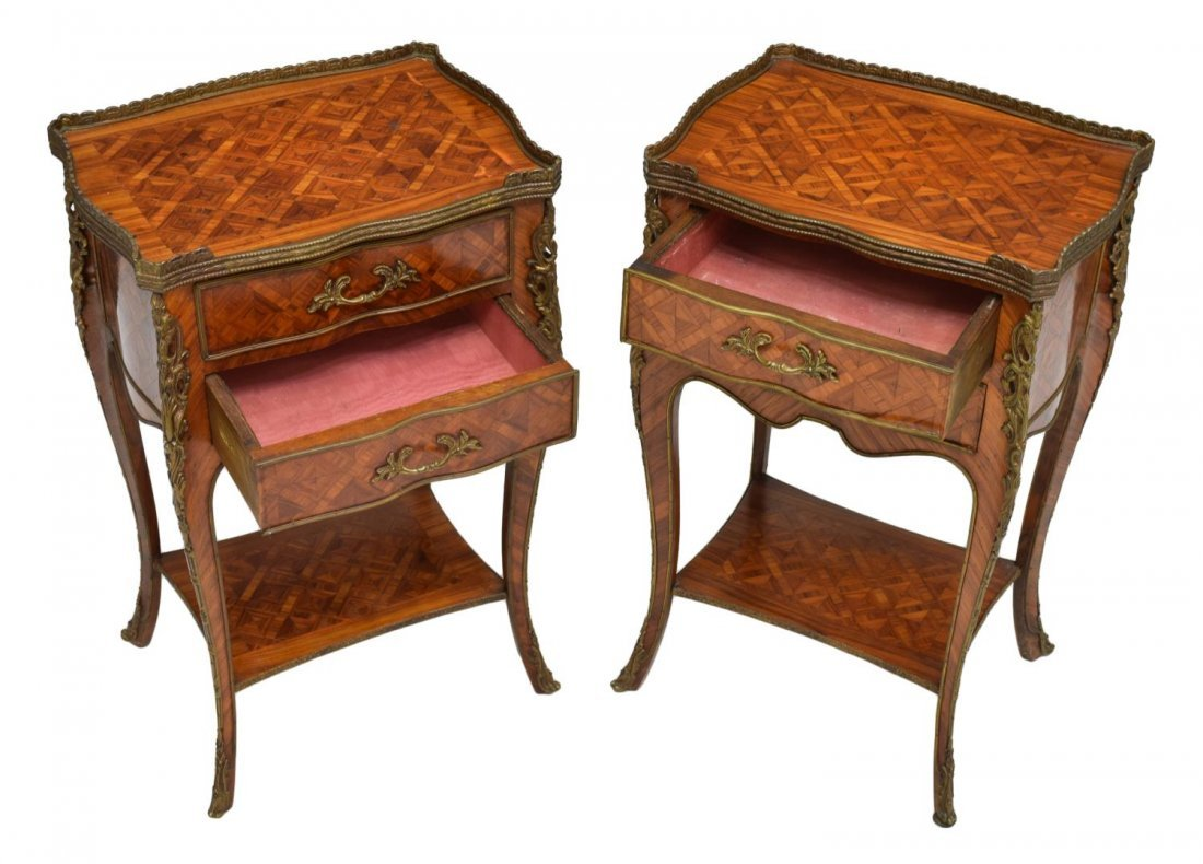 (2) LOUIS XV STYLE ROSEWOOD PARQUETRY NIGHT STANDS - 2