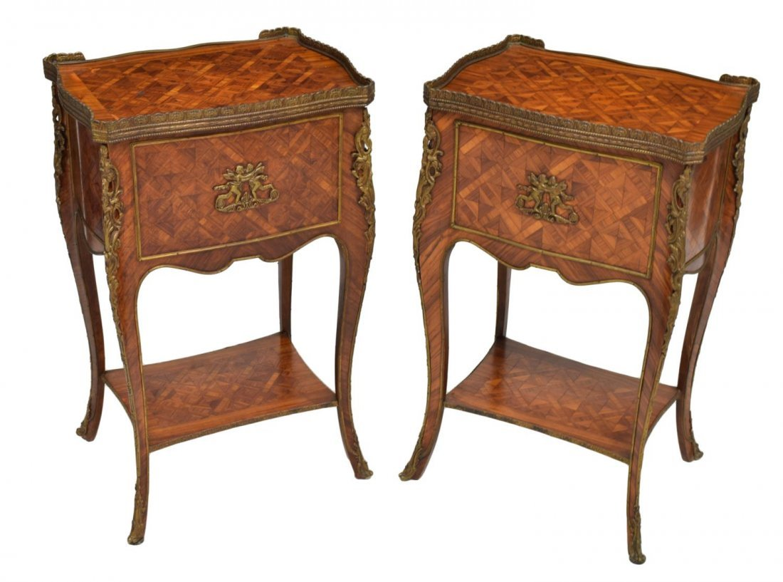 (2) LOUIS XV STYLE ROSEWOOD PARQUETRY NIGHT STANDS - 3