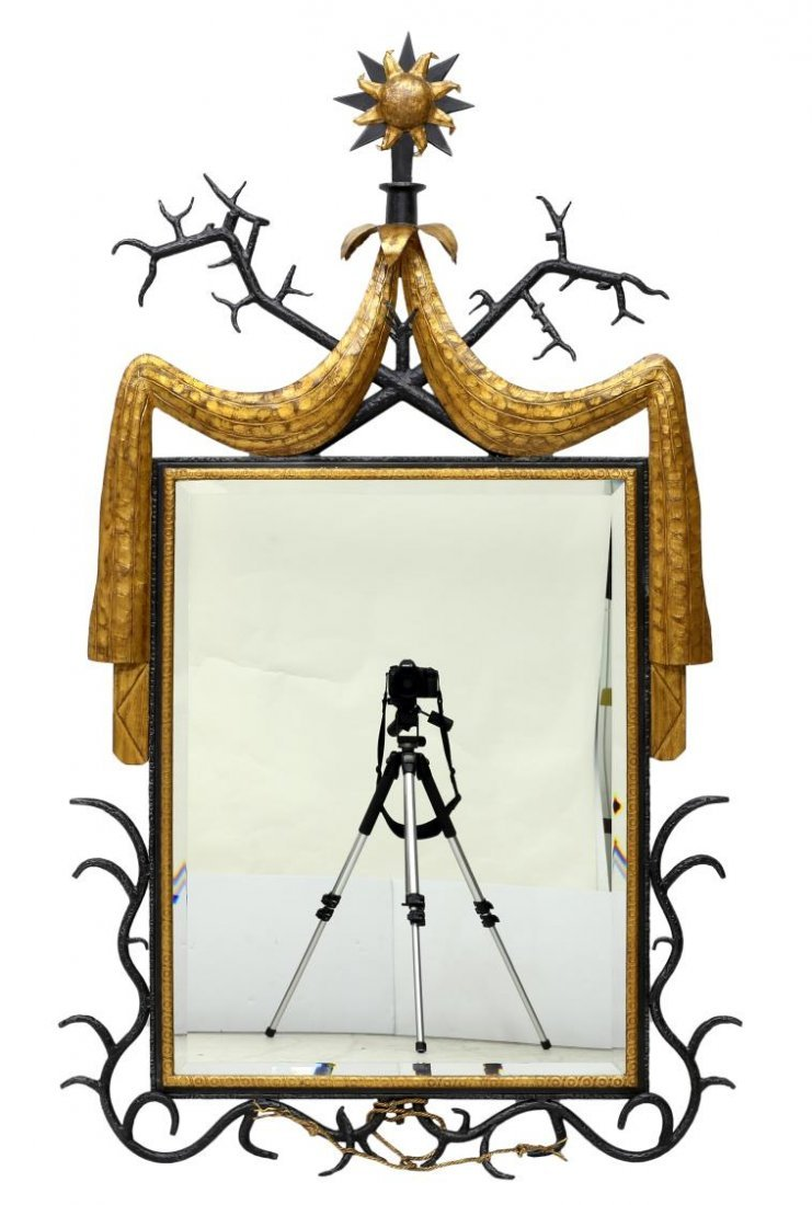 ORNATE IRON FRAME MIRROR AFTER GILBERT POILLERAT - 3