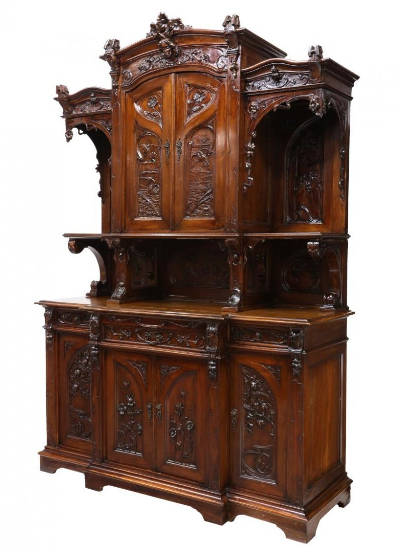 FRENCH ART NOUVEAU CARVED SIDEBOARD, C. 1900