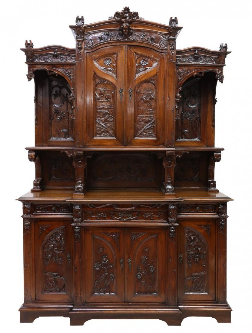 FRENCH ART NOUVEAU CARVED SIDEBOARD, C. 1900 - 2
