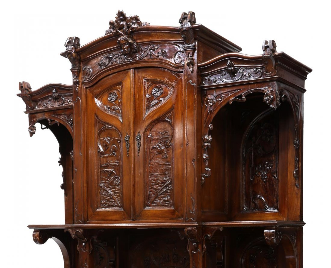 FRENCH ART NOUVEAU CARVED SIDEBOARD, C. 1900 - 3